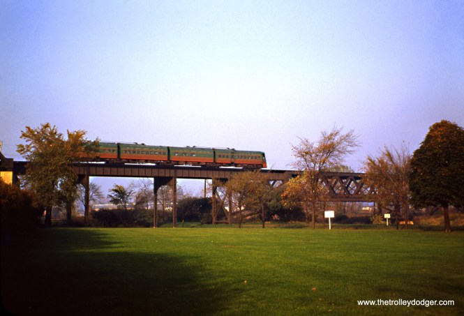 One of the two Electroliners crosses the North Shore Channel on October 21, 1950. After the abandonment of the North Shore Line in 1963, this became part of the route of the CTA Skokie Swift, today's Yellow Line. This is near the border between Skokie and Evanston. (Wien-Criss Archive)