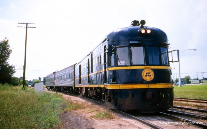 This Seabord Coast Line streamlined diesel train #4900 was built in 1936 by St. Louis Car Company, and was an obvious influence on the design of the North Shore Line Electroliners, built five years later, The 4900 was scrapped in 1971 after Amtrak took over intercity passenger rail service. It is shown here in August 1969 and was originally Seaboard Air Line 2028. Like the Electroliners, it was one of a pair. (Wien-Criss Archive)
