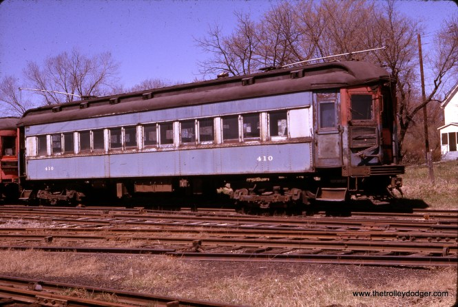 CA&E 410 awaits scrapping at Wheaton on April 23, 1962. It was built by Pullman in 1923. sister car 409 is now at the Illinois Railway Museum. (K. C. Henkels Photo)
