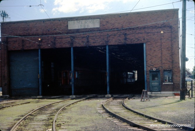 The North Shore Line's Harrison Street Shops in July 1960. (J. William Vigrass Photo)
