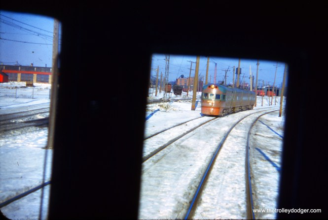 While not the greatest photo, from a technical perspective, this is an original Kodachrome slide taken by George Krambles. This is perhaps only the second such slide I have purchased. It was shot at North Chicago Junction on January 20, 1952. Occasionally, railfan photographers would trade original slides, and this one was owned by J. William Vigrass.