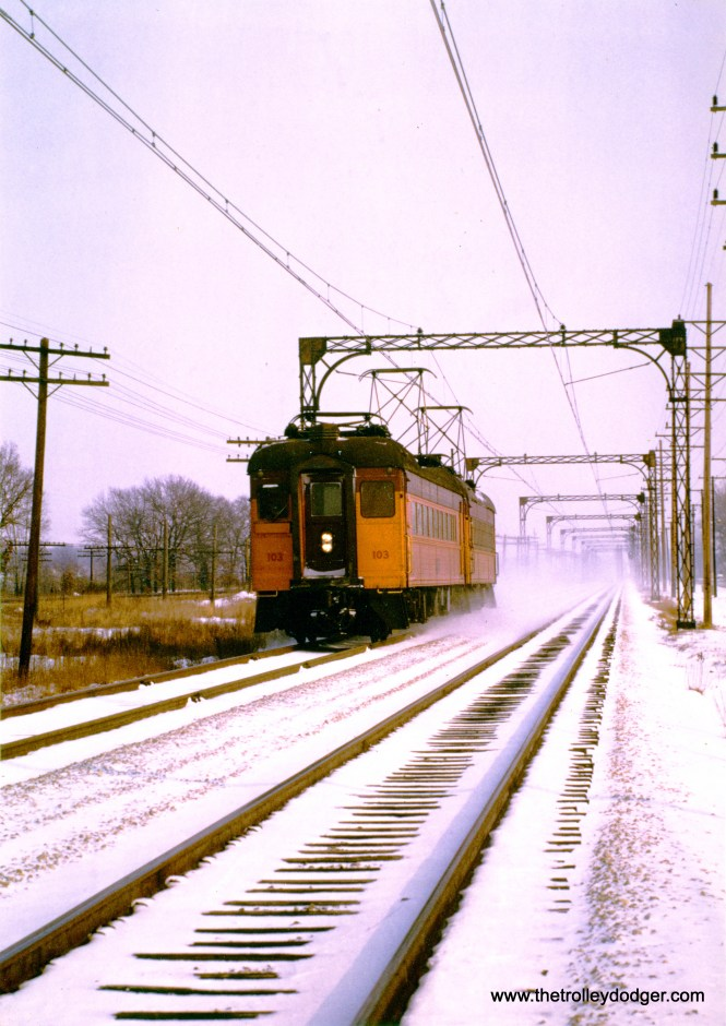 A classic winter scene, with South Shore Line 103 at the helm.