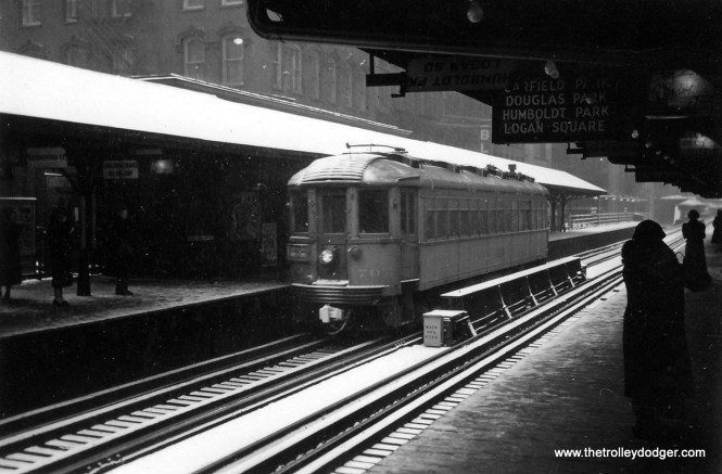 A North Shore Line train at Randolph and Wabash.