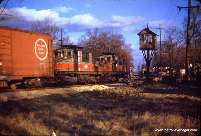 CA&E freight in Maywood, with locos 2001 and 2002, on November 18, 1951.