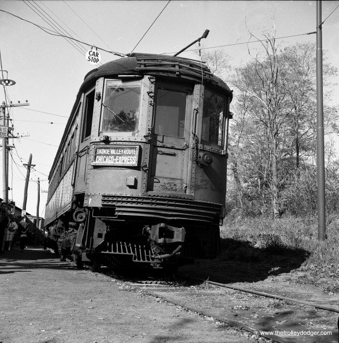 "North Shore Line car 709 at the Branford Trolley Museum in Connecticut in October 30, 1966, just three and a half years after the interurban quit. The location given is Farm River Road. Don's Rail Photos: ""709 was built by Cincinnati Car Co in 1924, #2725. It was sold to Branford Trolley Museum in 1963."""