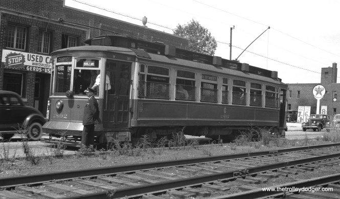 Chicago Surface Lines car 2802 is on a charter trip on June 12, 1940. This was apparently a fan favorite, as we have previously published a photo of the same car on a 1941 fantrip.