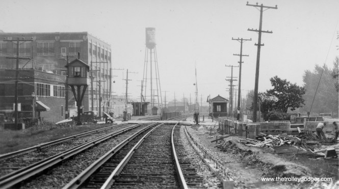 The former Chicago Aurora & Elgin station in Villa Park still exists and is a local landmark. But here we see it under construction in 1929. The Ovaltine plant at left has since been converted to residential.