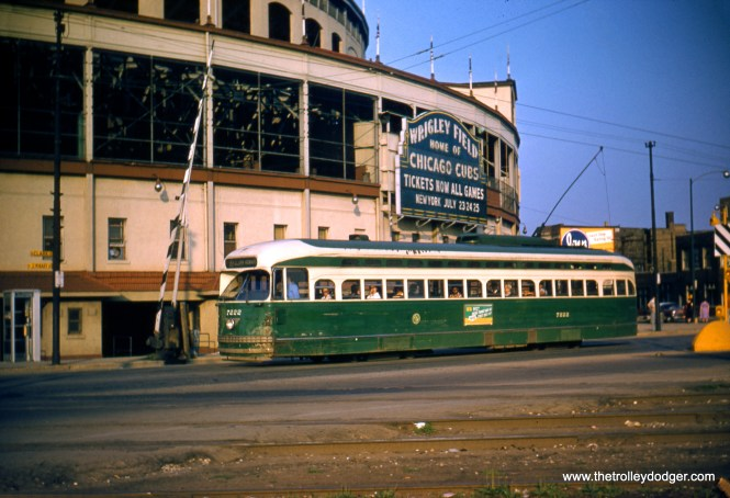 CTA 7222 by Wrigley Field (Clark and Addison) in July 1957. This picture appears twice in CERA B-146, on the cover and on pages 134 and 167, taken from a duplicate slide. On page 167, it is incorrectly attributed to Charles L. Tauscher. This is the original Red Border Kodachrome. (Robert Heinlein Photo)