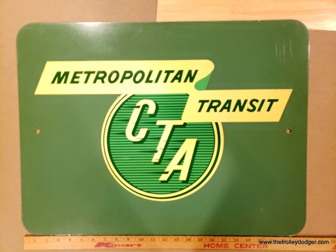 "This metal sign appears to show the original version of the CTA's ""Metropolitan Transit"" logo, first introduced in 1958. By then, the agency wanted the public to know that it served more than just Chicago."