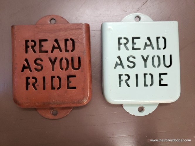 "Although Chicago had a total of 600 postwar PCC streetcars, this was too much for a single manufacturer to produce in the immediate postwar era, so the order was divided between Pullman (310) and St. Louis Car Company (290). The ""Read As You Ride"" leaflet holder at left came from a St. Louis PCC (7213), while the one at right may have come from a Pullman. Their interiors were painted different colors."