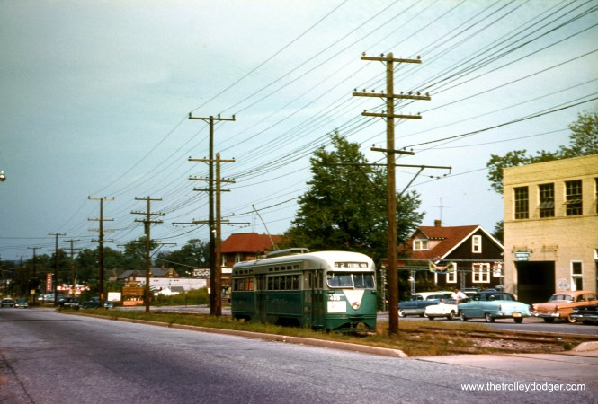 DC Transit 1469 is on Rhode Island Avenue (Route 82) in Maryland, August 11, 1958. (Clark Frazier Photo)