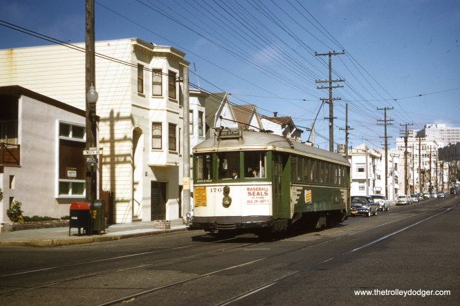 SF Muni 176 outbound on the N Line to the beach in 1957. (Clark Frazier Photo)