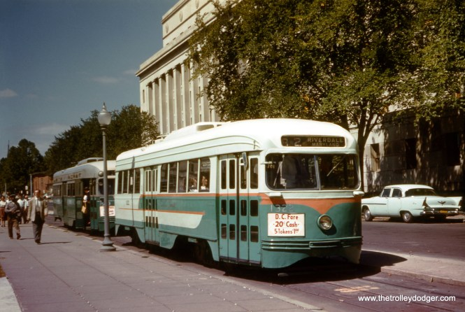 DC Transit 1322 at the Department of the Interior on Route 82, on September 2, 1958. (Clark Frazier Photo)