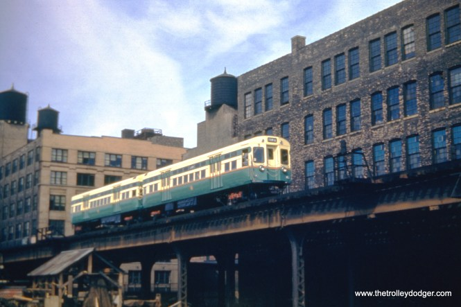 "Since this shows a Logan Square ""L"" train on the Met main line, just west of the Loop, it must have been taken between August 1950 (when the 6000s were introduced) and February 1951 (when the Dearborn-Milwaukee Subway opened)."