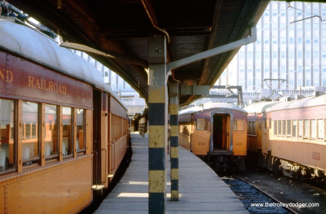 South Shore Line trains at the Randolph Street Terminal in August 1965. This terminal has since been completely redone and is now underground, beneath Millennium Park.