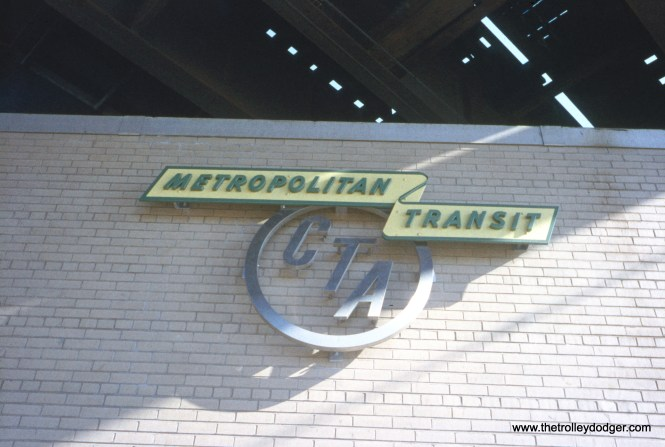"The Chicago Transit Authority logo on a new substation under the Harvard ""L"" station on April 23, 1962. This Englewood branch station closed, in 1992 and was demolished during the 1994-96 Green Line reconstruction. (William C. Hoffman Photo)"
