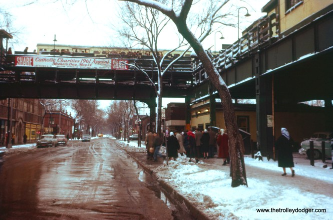 "CTA riders enter the ""L"" station at 63rd and Loomis after a snow storm on April 17, 1961. This station was built in 1907, and was the terminal for the Englewood branch until it was extended about two blocks west to Ashland Avenue in 1969. (William C. Hoffman Photo)"