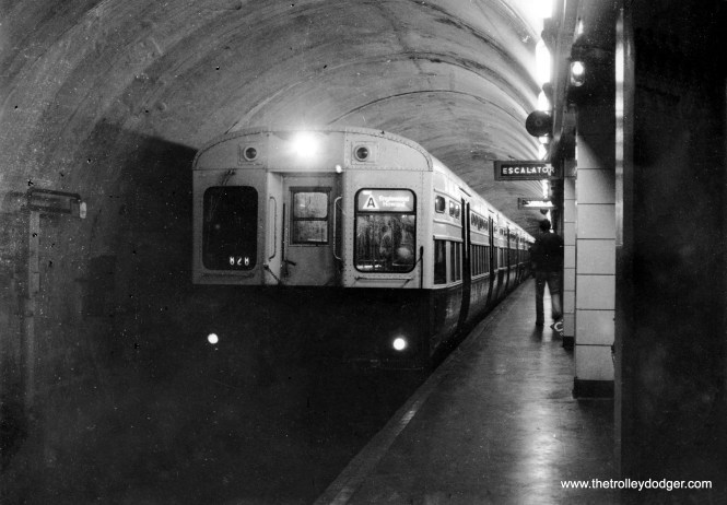 """An Englewood-Howard """"A"""" train of 6000s in the State Street Subway in the 1970s."""
