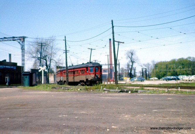 A North Shore Line train in North Chicago, sometime in the 1950s. This was an Ektachrome slide that had shifted to red, and I was fortunate to be able to color correct it in Photoshop. (J. W. Vigrass Photo)