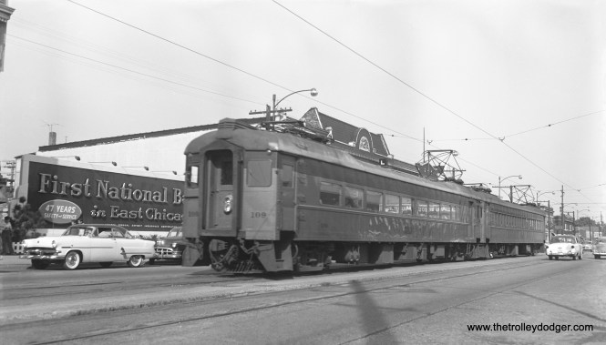 Another photo of the South Shore Line in East Chicago in 1956. My guess is, this is the same location as the other photo, just looking the other way.