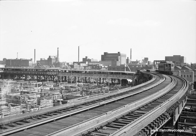 We are looking east from Exchange on the Stock Yards branch. The time is circa 1949.
