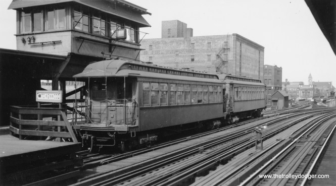 A two-car Kenwood train in the pocket track at Indiana Avenue, probably in the early 1950s.