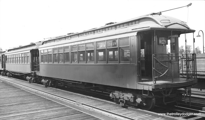"""CTA 3119, signed as a Lake Street local, is being stored on the third track at Hamlin in August 1948. By then, A/B """"skip stop"""" service had been in effect for some months. It's possible this car was no longer being used on the line. Don's Rail Photos: """"3119 was built by St. Louis Car in 1902 as LSERR 119. In 1913 it was renumbered 3119 and became CRT 3119 in 1923."""""""