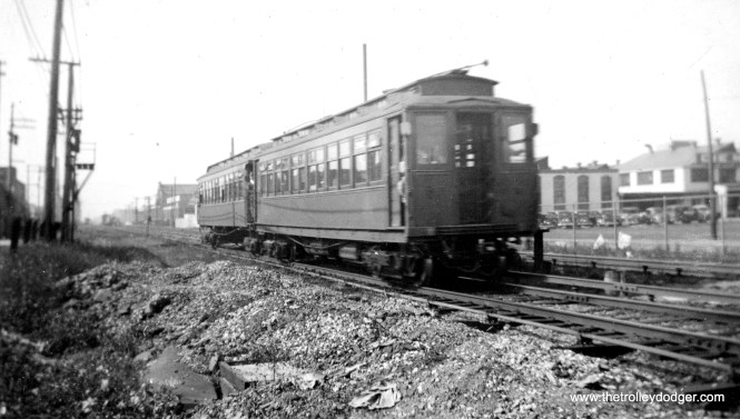 "A two car CRT ""L"" train in December 1935, heading west toward the Douglas Pak ""L""s end-of-the-line at Oak Park Avenue in Berwyn."