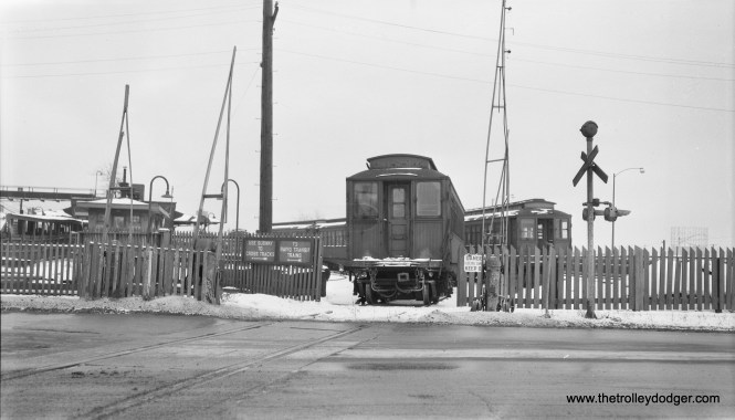 """CTA wooden """"L"""" cars in storage at Laramie Yard in 1957.  The view looks west.  (Robert Selle Photo)"""
