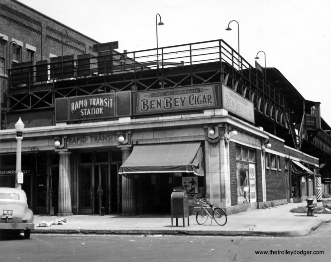 """The Logan Square terminal in 1946. """"L"""" service terminated here from 1895 to 1970, when the CTA extended service to the northwest via a new subway. A portion of this building still exists, although considerably altered. (Chicago Transit Authority Historical Collection)"""