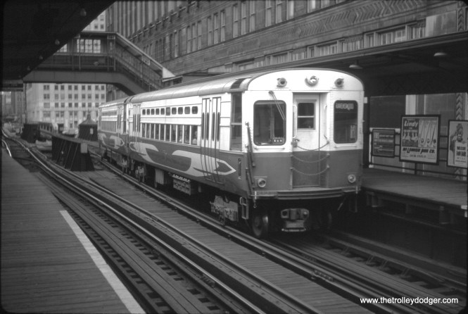 """A pair of CTA high-speed cars at the Merchandise Mart.  Fans nicknamed them """"circus wagons."""""""