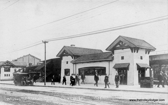 """Service to Wilson Avenue via the """"L"""" commenced in 1900, but the lower-level station did not open until March 5, 1907, with this modest station house designed by Arthur U. Gerber. In the book, I chose to use a different image, taken on opening day, that shows the other side of this building and the lower level tracks."""