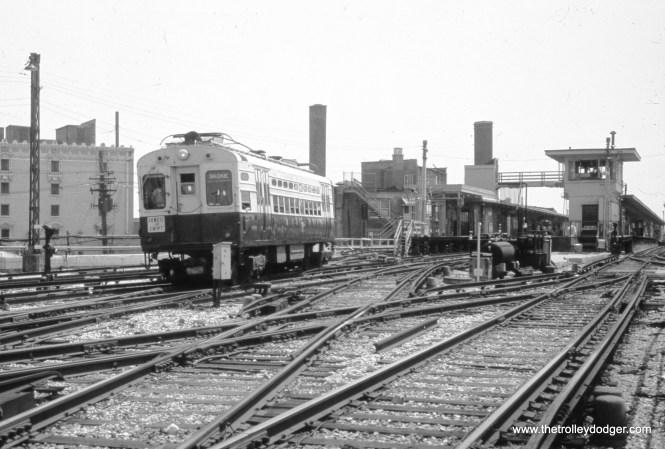 A single-car CTA Skokie Swift train leaves Howard Street in June 1977.