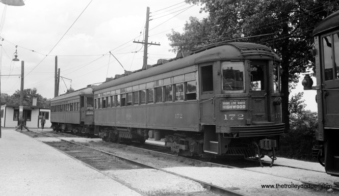 This undated photo of North Shore Line train 172 in Waukegan must have been taken prior to this line's abandonment in July 1955.