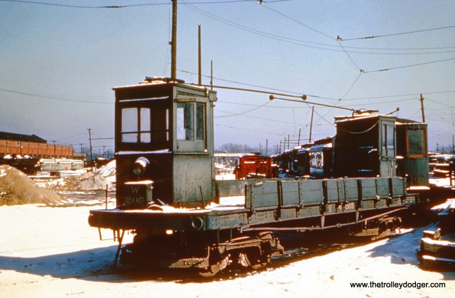 CTA work car W-205 at 77th and Vincennes in January 1951. (William Shapotkin Collection)