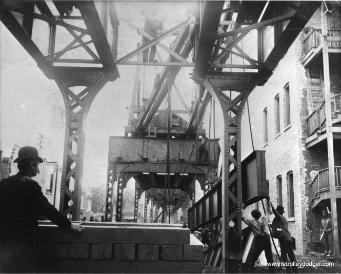 """The South Side """"L"""" was Chicago's first, and was also known as the Alley """"L"""". On September 5, 1890, a connecting span is raised at what became the 35th Street station. Service began in 1892. (Chicago Transit Authority Historical Collection)"""