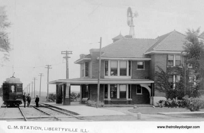 The Chicago & Milwaukee electric station in Libertyville, from a real photo postcard postmarked 1906.