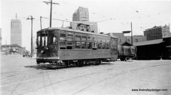 """Chicago & Milwaukee Electric Birney car 334 at 6th and Clybourn in Milwaukee. Don's Rail Photos: """"334 was built by Cincinnati Car Co in December 1922, #2625. It was retired in 1947 and scrapped in April 1948."""" The C&ME name was used on these North Shore Line city streetcars, since that was the franchise holder in Milwaukee."""