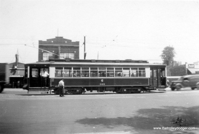 CSL Pullman 329 is on Route 21 - Cermak Road, possibly at the west end of the line, circa 1940.
