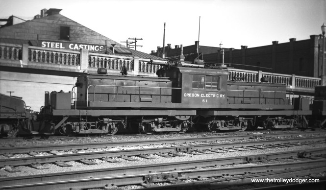 """Don's Rail Photos: """"51 was built by the SP&S in August 1941. It was purchased by the North Shore in December 1947 and was completed as 459 on November 22, 1948."""" Here it is at the Portland yard on September 9, 1946."""