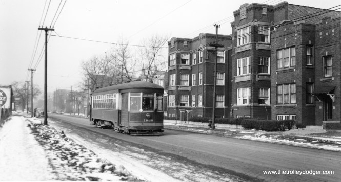 """CSL 1868. I can't make out the destination sign. (Joe L. Diaz Photo) Michael Franklin: """"This is the 5200 block of Harrison St, Chicago. Buildings are still there."""""""
