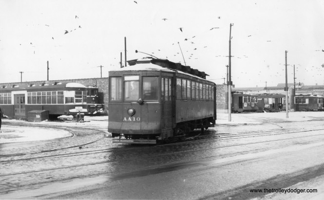 """CSL/CTA salt car AA10. Don's Rail Photos: """"AA10, salt car, was built by CUT in 1899 as CUT 4492. It was rebuilt as 1445 in 1911 and became CSL 1445 in 1914. It was rebuilt as (a) salt car in 1930 and renumbered AA10 on October 1, 1941. It was retired on February 18, 1955."""""""