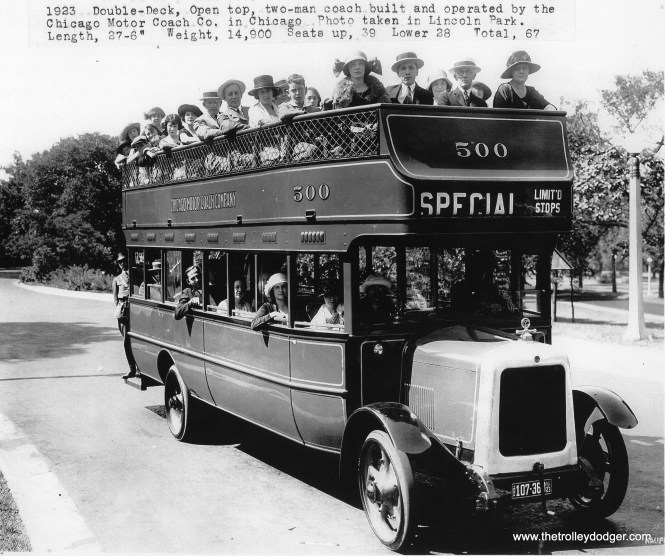 Chicago Motor Coach Company double-decker bus 500, built in 1923.