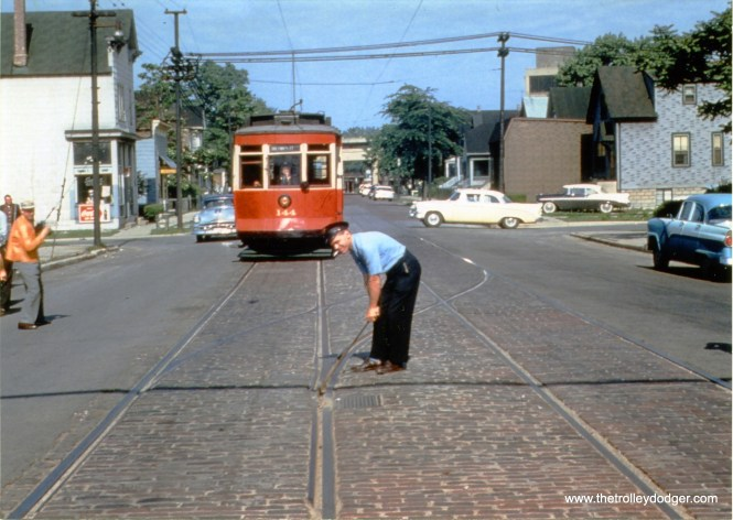 CTA 144 at 81st and Emerald on the final Chicago streetcar fantrip on June 15, 1958.