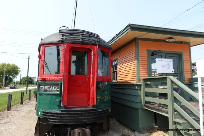 North Shore Line car 749 at the 50th Avenue station, Illinois Railway Museum, July 3, 2021.