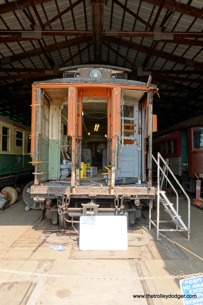 """Metropolitan """"L"""" car 2872 is under restoration. There is a picture of it in service on the Kenwood shuttle in my new book Chicago's Lost """"L""""s."""