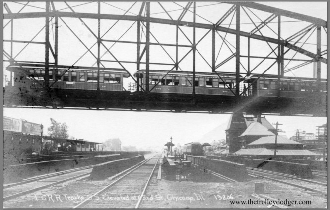 """I recently bought this early real photo postcard, showing a Jackson Park """"L"""" train crossing the Illinois Central when it still used steam (pre-1926). This is the second one of these I have, and interestingly, it has less cropping than the first version I had (which is in my new book Chicago's Lost """"L""""s). Why is this? Well, this is a real photo made from the original negative, and not something made on a printing press. So every time a batch of these were produced, someone had to position the negative, and there was the potential to do it differently each batch. You can almost make out the car numbers here... 17, 274, and maybe 250.  Don's Rail Photos: """"17 was built by Jackson & Sharpe in 1892 as SSRT 17 as a steam trailer. It was rebuilt as a MU motor car in 1898. It became CERy 17 in 1913 and retired on January 8, 1924."""" """"274 was built by Jewett in 1905 as SSRT 274. It became CERy 274 in 1913 and became CRT 274 in 1924. It was retired on June 7, 1957."""" The South Side cars were not renumbered when the four """"L"""" companies were consolidated."""