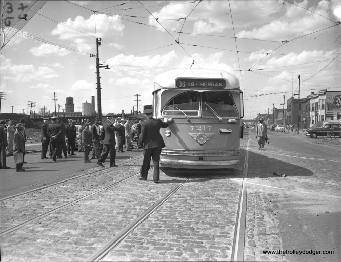 On June 1, 1950 CTA PCC 7217 was used as part of an inquest into the fatal collision between car 7078 and a gasoline truck that killed 33 people (and injured many others) on May 25th of that year. The location is 6242 S. State Street. The resulting fire destroyed several nearby buildings. This accident is the subject of a book (The Green Hornet Streetcar Disaster).