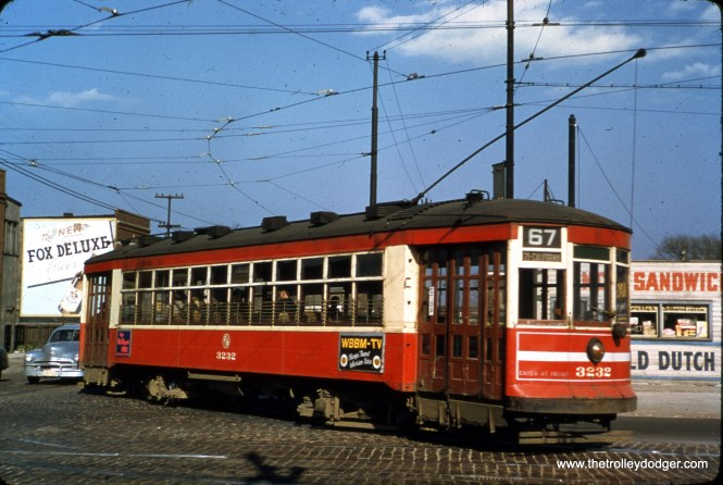 """CTA 3232 on Route 67. M.E. adds, """"This photo was likely taken at 69th and Western. This is an eastbound car making the turn from going north on Western to going east on 69th. After the 69th St. line was converted to buses, the CTA kept the tracks in operation so that PCC cars running along Western could access the barn at Vincennes and 77th."""""""