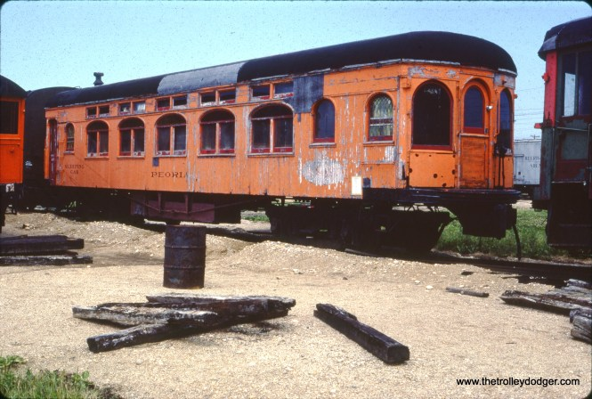 """Illinois Terminal sleeping car 504, the """"Peoria,"""" at the Illinois Railway Museum in May 1977. It was built by American Car and Foundry in 1910."""